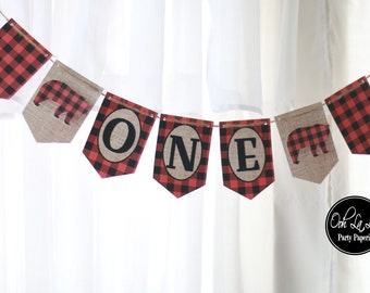MADE TO ORDER Lumberjack Buffalo Plaid and Burlap High Chair Banner