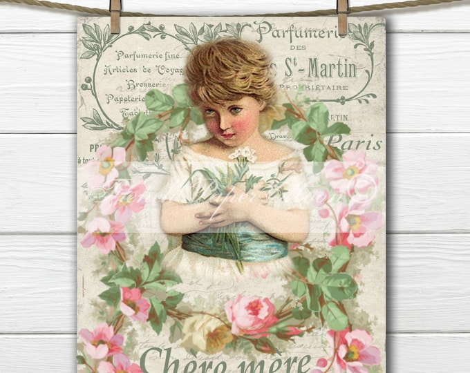 Digital Shabby Mother's Day Graphic, French Printable Mother's Day, Victorian Girl, French Mother's Day Printable Transfer Graphic,