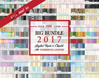 Big Bundle 2017 - Over 1000 Unique Digital Papers & Clipart Items for One Price - COMMERCIAL LICENSE INCLUDED