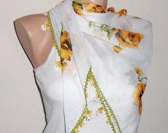 white yellow green scarf floral print scarf yemeni scarf oya scarf shawls wedding accessories gift for her fashion scarf