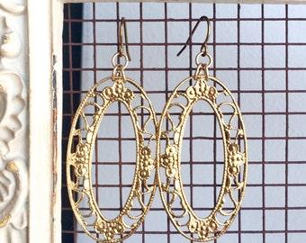 22K Gold Plated Filigree Earrings