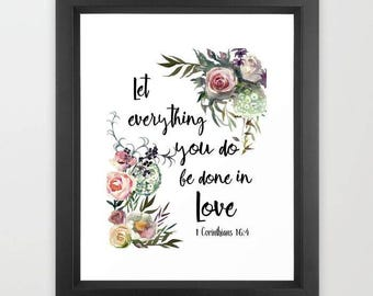 Scripture art, Let everything you do, be done in Love, watercolor art print, typography print, bible verse art, Christian art