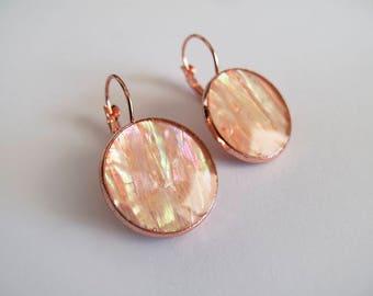 Rose Gold & Shell Dangle Earrings