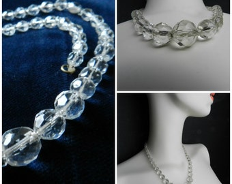30s vintage deco graduated clear glass faceted necklace 17''