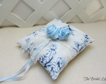 Blue Rose Wedding Ring Pillow, Blue Floral Wedding Pillow, Light Blue Ring Bearer Pillow, Blue Wedding Decor, Ready to Ship
