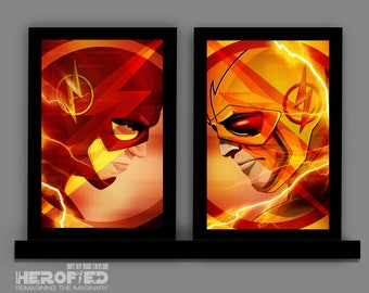"The Flash inspired ""The Flash & Reverse Flash Set"" 11X17 Standard Print Set of 2 Art Prints Herofied"