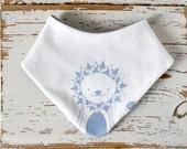 Baby Bandana Bib - Soft Organic Cotton Jersey Knit - White with Light Blue Lion Print -  Teething Bandana - Adjustable Snaps- Gift for Baby