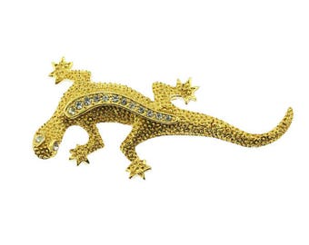 Gold and Rhinestone Lizard Brooch,Gold and Rhinestone Lizard Pin, Gold Lizard Brooch, Gold Lizard Pin