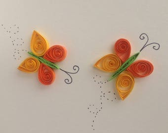 Quilled Orange Butterflies, Greeting Card, Birthday card, Anniversary card, Thank you card, Springtime, Insects,