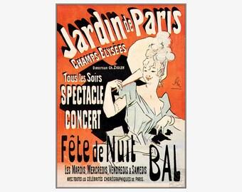 Jardin De Paris 1890 Fete De Nuit Bal French Vintage Poster Retro Art Print  Artist Jules Cheret Free US Post Low European Postage