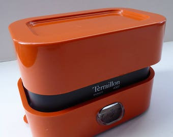 Vintage 1960s Space Age Kitchen Scales by Terraillon 4000.  Fabulous Tangerine Orange Shade