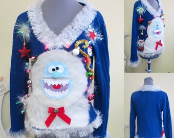 Holly Jolly Happy The Abominable Snowman Sweater Light UP  Sweater, Tacky Ugly Christmas Sweater womens Large, light up Sweater, Fun Sweater