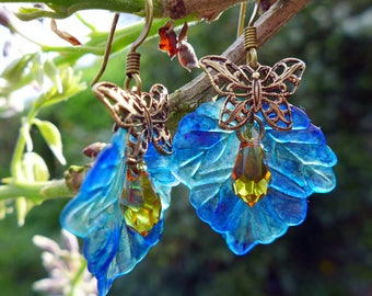 Lucite Flower Earrings, 'Irises', Leaf Earrings, Boho Earrings, Dangle Earrings, Blue Earrings, Mother's Day Gift, Butterfly Earrings