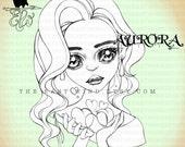 Digital stamp- Aurora 'be my Valentine'- 300 dpi 2 JPEG/PNG files - MAC0356