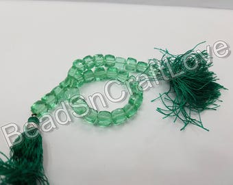 Green Apatite color Quartz 3D cube or Box shape Faceted  Beads, approx 7 mm, 12 pieces   AAA quality