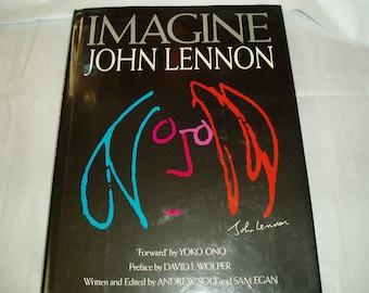 Imagine , John Lennon , vintage book , John Lennon bio , Solt and Egan , published 1988 , Beatles book , photography , Yoko Ono , MacMillan