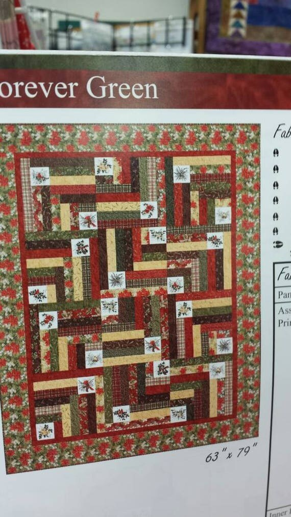 Holly Taylor Quilt Kit by Moda. Forever Green Fabric and Pattern Winterlude Book. Traditional Design Cardinals, Wreaths, Pine Boughs, Plaids
