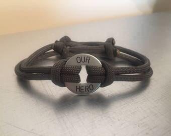 HERO Bracelet - Personalized One Washer Double Strap Paracord Bracelet