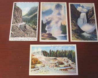 Yellowstone National Park; post cards 1906, 1947, 1959,