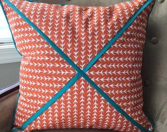 Orange Pillow Cover 20 x 20 inch Pillow Cover Orange Blue Pillow Cover Orange Turquoise Pillow Cover Orange Teal Pillow Cover