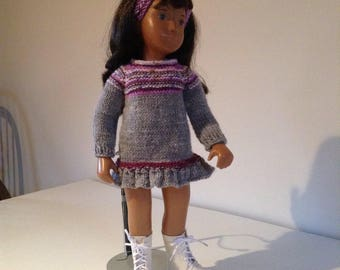 Grey dress with matching hairband to fit Sasha & similar slim dolls