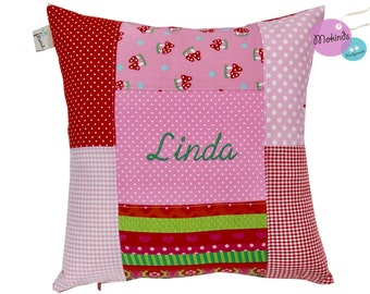 Pillow with name patchwork