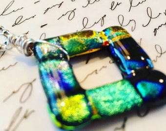 """SALE! Was 25, Now 18, Dichroic glass pendant wire wrapped on 20"""" nickel free ball chain."""