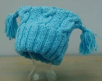Baby Hat - Hat for Baby Boys - Hat with Tassels - Age 6 to 12 Months - Blue Hat - Hand Knitted Baby Hat - Baby Shower Gift - Gift for Baby