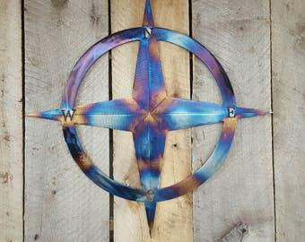 "Nautical Compass Rose Metal Wall Art Hanging Home Decor Rustic Primitive 18"""