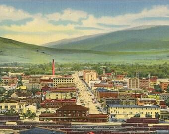 Missoula Montana Bird's Eye View from Waterworks Hill Billings Vintage Postcard 1952
