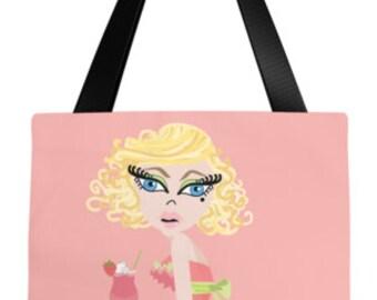 Fashion Illustration • Strawberry Daiquiri Tote Bag
