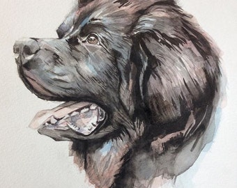 PERSONALIZED 12x16 dog portrait; (photos are examples) original watercolor painting on paper