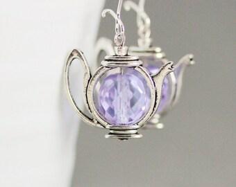Teapot Earrings Lilac Teapot Earrings Tea Earrings Teapot Jewelry Silver Tea Earrings Long Dangle Earrings Cute Earrings Tea Lovers Gift Tes