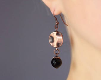 Copper Earrings Dangle Copper Earrings Copper Beaded Earrings Copper Black Earrings Unique Earrings Unique Copper Jewelry Everyday Earrings