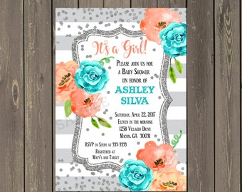 Watercolor Floral Baby Shower Invitation, Grey Teal and Peach Baby Shower Invitation with Silver Glitter Look, Printable or Printed