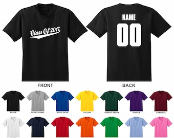 Class of 2017, 18, 19, Personalized Custom, Pick A Year, Name & Number Graduation Adult T-shirt, Script