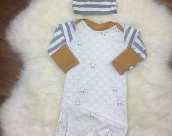 Panda Gray stripe Baby Layette gown-Baby Coming Home Gown/ newborn sleep sack