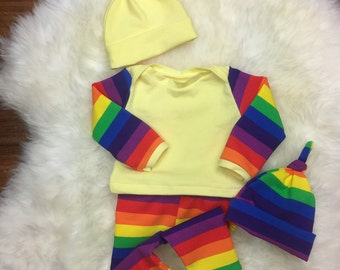 Rainbow baby coming home outfit~Rainbow print leggings/laptee/beanie