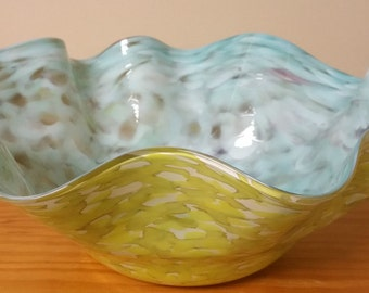 Hand Blown Art Glass Bowl Beautiful Colors