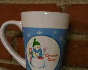 Christmas Mug, coffee mug, Vintage Christmas mug, snow man mug