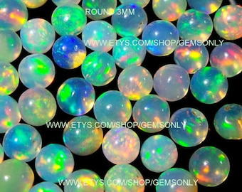 5pcs 3mm NATURAL ETHIOPIAN OPAL round 3x3mm ethiopian cabochon round 3mm best quality whole sell deal available opal cabochon by gemsonly