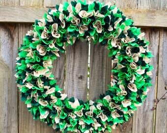 St. Patrick's Day Wreath, Rag Wreath, Irish Wreath, Spring Wreath, St Patty's Decor