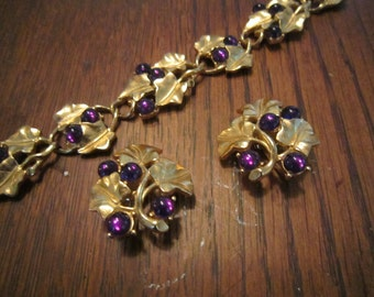 Kunio Matsumoto for Trifari Grape Leaves and Grapes Bracelet and Earrings