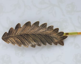 Antiqued Gold Lg. Leaf/Feather Hair Pin, Bobby Pin, Gold, Bridesmaid Gift, Garden Wedding Hair Clip, Vintage Bridal, Woodland