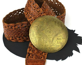 Moroccan Brown Leather Braided Belt with Large Brass Circle Buckle