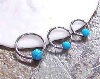 "Cartilage Rings SET of 3 WHOLESALE Hoops - 18 or 16 Gauge 1/4"" 5/16"" 3/8"" - Turquoise Captive Hoop Ring - Triple Helix Cartilage Jewelry"