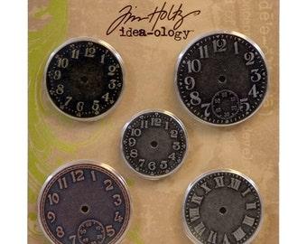 Tim Holtz Idea-ology TIMEPIECES clock charms Time Pieces metal embellishments 5.cc1x
