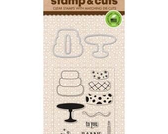 Hero Arts Stamp & Cut BIRTHDAY Die set 3 tiered birthday cake die -  DC125 cc02
