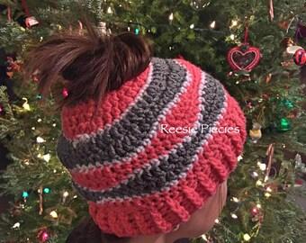 Ponytail Hat, Pony Tail Hat, Crochet Ponytail Hat, Messy Bun Hat, Brainwaves Hat, Winter hat, Ski Hat, Ladies Winter hat, Girls Hat