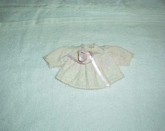 Antique 1930's KRUEGER Tag Doll PINK Lace Trim Button Baby Dress or Top w/Silk Ribbon Doll Clothes (New York City USA) Gorgeous, very Rare